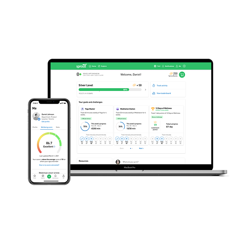 Sprout Dashboard on Iphone and macbook
