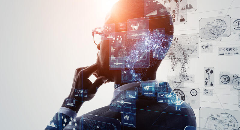 man thinking with artificial intelligence based interface in foreground
